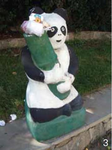 以大熊猫作为垃圾桶造型